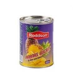 Ananas bucăți Roddson în conservă de 565 grame, păstrează sub capac aromele dulci, senzuale și exotice ale Tailandei. Produs sterilizat.