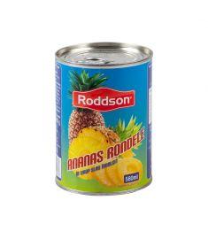 Ananas rondele Roddson în conservă de 565 grame, păstrează sub capac aromele dulci, senzuale și exotice ale Tailandei. Produs sterilizat.
