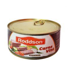 Carne de vită Roddson în cutie de 300 grame, este fabricat în România. Produs sterilizat