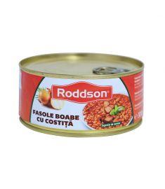 Costiță cu fasole Roddson în cutie de 300 grame, poate reprezenta o masă delicioasă și hrănitoare. Conține ingrediente de calitate și este produs în România.