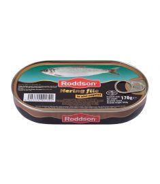 Hering file în ulei vegetal Roddson în cutie de 170 grame, este un produs din gama premium, delicios și sănătos, produs în Bulgaria. Produs sterilizat.