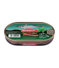 Macrou file cu busuioc în sos tomat Roddson în cutie de 170 grame, este un produs din gama premium, delicios și sănătos, produs în Bulgaria. Produs sterilizat.