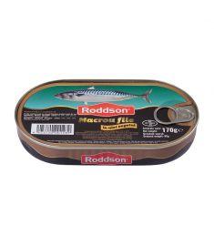 Macrou file în ulei vegetal Roddson în cutie de 170 grame, este un produs din gama premium, delicios și sănătos, produs în Bulgaria. Produs sterilizat.
