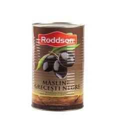 Măslinele negre, calibru 101-110, marca Roddson, în cutii de 2.5kg sunt originare din Grecia și înglobează toată priceperea, rafinamentul și tradiția milenară a grecilor în cultivarea măslinului. Măsline întregi, înnegrite prin oxidare, în saramură (Confi