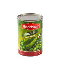 Mazăre verde Roddson, în conservă de 400 grame, conține mazăre de cea mai bună calitate, atent selecționată cultivată și culeasă în Italia.