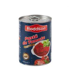 Pastă tomate 28% Roddson în cutie de 400 grame, este produs în România din roșii de cea mai bună calitate, pasta având o concentrație de roșii de 28%. Produs sterilizat. Calitate premium.