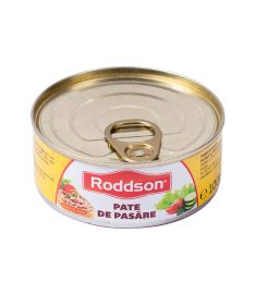 Pate pasăre Roddson în cutie de 100 grame, este fabricat în România. Produs sterilizat