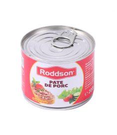 Pate porc Roddson în cutie de 200 grame, este fabricat în România. Produs sterilizat