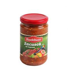 Zacuscă de legume cu vinete 314ml este un produs românesc marca Roddson, pentru care am utilizat legume de cea mai bună calitate pentru a garanta gust și savoare fără egal. Produs sterilizat.